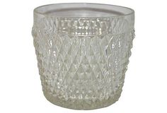 Diamond Point Glass Ice Bucket on Chairish.com