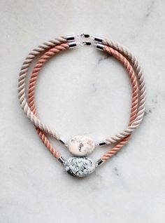 Natural marble and rope necklaces
