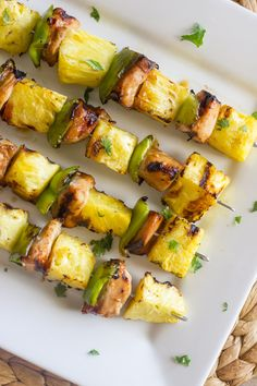 Grilled Teriyaki Chicken and PIneapple Kebabs - teriyaki chicken, sweet juicy grilled pineapple, and crisp green pepper (change soy sauce for paleo friendly) Grilling Recipes, Cooking Recipes, Healthy Recipes, Healthy Meals, Vegetarian Grilling, Healthy Grilling, Barbecue Recipes, Barbecue Sauce, Healthy Chicken
