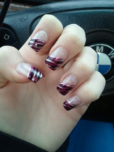 Pink black & silver nails ♥