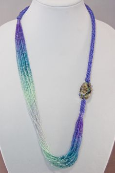 31 inch seed bead and lampwork necklace Waterfall - Simply Unique Jewelry - 1
