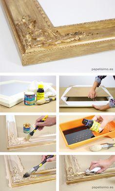 Cómo envejecer con betún de judea bitumen Furniture Projects, Diy Furniture, Paint Recycling, Foto Transfer, Chalk Paint Colors, Touch Of Gold, Furniture Restoration, Vintage Frames, Diy Art