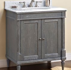 Designed to flaunt the beauty of its wood, Rustic Chic invites you to bring a touch of texture to your bath. The earth-bound, organic look derives its appeal from clean lines and tactile Silvered Oak veneers, accented with subtle brushed nickel finished knobs. A variety of cabinet sizes and configurations allows you to customize your space… naturally.