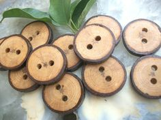 buttons made from tree branches (for hats)