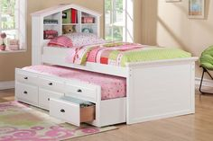 A picture perfect designed white twin bed with a headboard in the shape of a house. Includes shelf space, a trundle bed and additional lower storage units. Dimensions | Twin Bed w/trundle 89″ x 44″ x 53″H