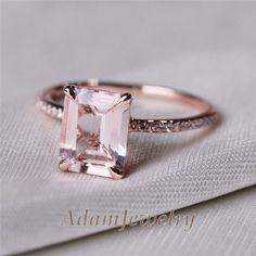 VS 7x9mm Emerald Cut 14K Rose Gold Morganite Diamond Engagemt Wedding Ring #SolitairewithAccents #weddingring
