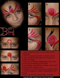 bird face face painting step by step design