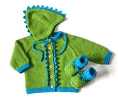 Green and blue baby set dinosaur baby outfit MADE TO by Tuttolv