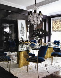 Elegant Dining Room: Blue, Black, White and Brass - love the shades on the crystal chandelier