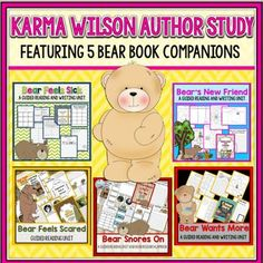 If you love the bear books by Karma Wilson, then check out this author study bundle for five of her books. Each unit has been updated and includes materials for comprehension, vocabulary, and writing. Get your students thinking with these Bear book activities.
