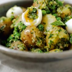 Toss tiny new potatoes with a bright pesto and top with quail eggs. Yottam Ottolenghi's sophisticated take on potato salad for Tasting Table. Find it and more new potato salad recipes on www.edamam.com!