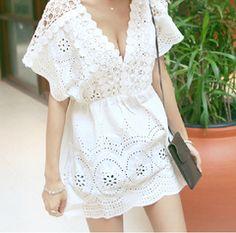 预棉麻女装镂空罩衫民族风刺绣连衣裙夏海边度假裙沙滩短裙