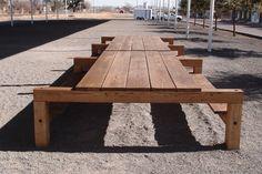 Donald Judd designed big picnic table. Marfa, Texas