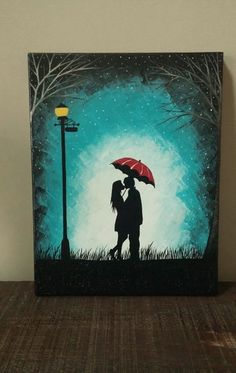 The night sky is lighter than the couple in the lamplight. It makes it feel more than magical!   ---Original Couple kissing in the rain wall art,couple with red umbrella painting,couple silhouette painting,Kiss art,Birthday Gift for her by ArtByRangrez on Etsy