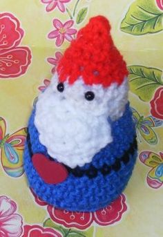 Don't you want to learn how to make a crochet gnome like the one pictured here?   Here's my pattern plus links to 7 more free patterns. #crochet #craft http://www.squidoo.com/crochetgnome