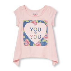 Image for Toddler Girls Short Sleeve Embellished Graphic Shark-Bite Hem Top from The Children's Place