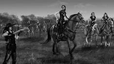 """Weathervane"" -- Lady Merreth gets the drop on Tiandraa by SYoshiko on Deviantart Art Work, Drop, Horses, Deviantart, Adventure, Lady, Artist, Animals, Artwork"