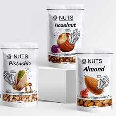 Hilda Nuts on Packaging of the World - Creative Package Design Gallery Dessert Packaging, Cool Packaging, Food Packaging Design, Beverage Packaging, Packaging Design Inspiration, Branding Design, Identity Branding, Corporate Design, Brochure Design
