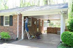 Building A Garage Or Carport Pergola Deck With Pergola, House With Porch, Building A Shed, Carport Designs, Pergola Ideas Privacy, Building A Garage, Carport Addition