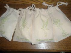 12 Tinkerbell Muslin BagsDisney Drawstring by YellowFlowerDesigns, $18.00