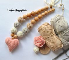 FREESHIPING/ Heart Nursing necklace / Teething by ForYourHappyBaby