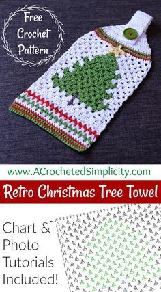 christmas tree ideas retro Free Crochet Pattern - Retro Christmas Tree Towel by A Crocheted Simplicity Crochet Crafts, Crochet Projects, Free Crochet, Knit Crochet, Crochet Ideas, Weaving Projects, Crochet Granny, Retro Christmas Tree, Crochet Christmas Ornaments