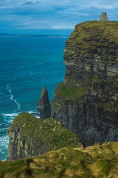 This Picture is of the cliffs of Moher with its sea stack and O' Brian's castle in the top right.