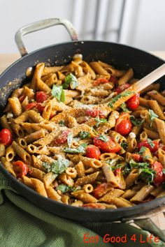Roasted Pepper, Goat Cheese and Basil Pasta recipe