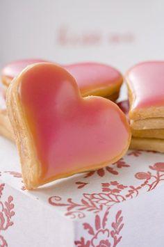 cute pink heart cookies