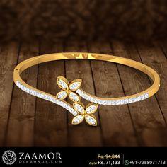 Dual Flower Wavy Openable Diamond Bangle #zaamordiamonds #diamondbangle #diamondbangles #bangles #bangle #valentinesjewelry #valentinesgift #valentineoffers