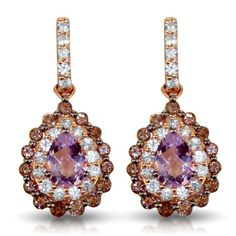 Le Vian - 14k Rose Gold Dangle Earrings mounted with pear shaped cotton candy Amethyst surrounded with 36 white Sapphires and 30 chocolate Quartz. ☆$1,415.00☆