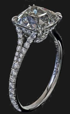 Cushion-cut diamond engagement ring with pavé split shank by Leon Megé. Why, hello there. #diamonds