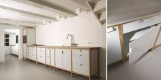 House of Thol - Dutch Design: durable products for easy green living. Concrete Kitchen, Concrete Wood, Kitchen Dining, Kitchen Cabinets, Amsterdam, Cool Kitchens, Double Vanity, Black And White, Interior Design