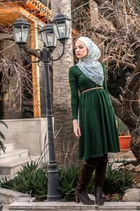 Belck Dark Green Knee Length Dress Belt