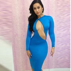 Free Ship Sheath Full Sleeves Backless Polyester Spandex Knee-Length Package Hip Women Night Club Dress Lady One-piece Dress $19.90