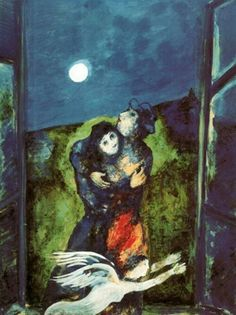 Marc Chagall - Lovers in Moonlight