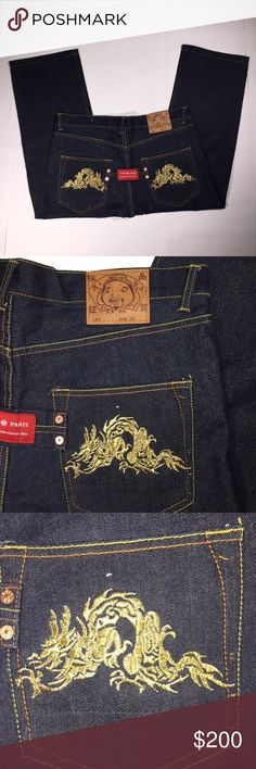 Evisu Indigo Jeans Paris Japan Mens Jeans Dragon Evisu Indigo Jeans Paris Japan Mens 39W 26L Gold Dragon design Button Fly sz 36  *Please see below for exact measurements*  - Excellent Used Condition!  Measurements;  Waist - 19.5'' across , 39'' all the way around  inseam - 25.5''  outseam - 37.5''  front rise - 13''  back rise - 15''  leg opening - 10 '' evisu Jeans Straight