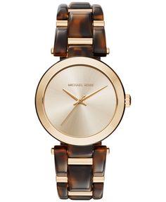 Michael Kors Women's Delray Gold-Tone Stainless Steel and Tortoise Acetate Bracelet Watch 36mm MK4314
