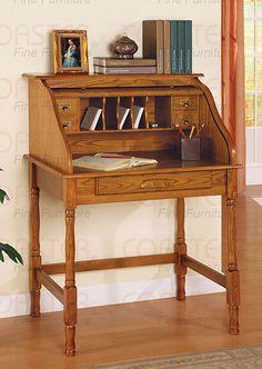 Beau Oak Roll Top Secretary Office Writing Desk FREE S/H