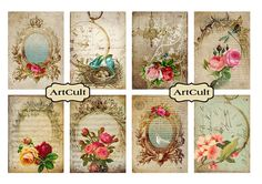 ROMANCE  Digital Collage Sheet Victorian Gift Tags by ArtCult, $4.90