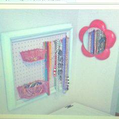 Framed pegboard for organizing girl's bedroom!