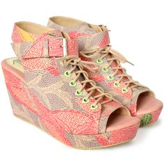 MINZY batik -   Edgy with a humble heart. Multicolor Indonesian batik with adjustable buckle and laces, adorned with adorable heart-shaped eyelets. 9 cm high with 2 cm platform.