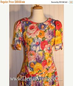 50% Off SALE Vintage 80s Special Times by Pattie O'Neil Floral Cotton Print Dress sz 14