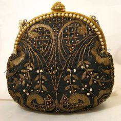 Vintage French Purse Embroidered with Metallic Thread & Faux Pearl Frame