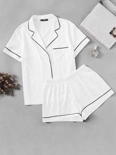 Buy SHEIN White Contrast Piping Pocket Front Shirt And Shorts Pijama Women Plain Button Short Sleeve Casual 2019 Nightwear Cute Pajama Sets, Cute Pajamas, Pj Sets, Cute Pjs, Pyjama Sets, Flannel Pajamas, Satin Pyjama Set, Satin Pajamas, Cotton Pyjamas