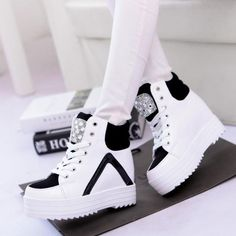 862cc7c8f30 Z style Womens Platform Hidden Wedge Heels Sneakers High Top Rhinestone  Shoes