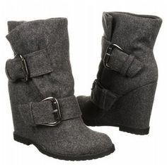 flannel wedge boots