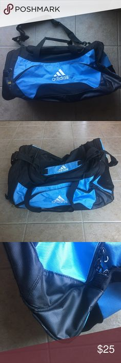 Adidas blue black sports duffle bag EUC Adidas blue and black sports duffle bag in excellent used condition. Large in size. Has multiple zipper pockets and compartments for your athletic needs. Vented side zipper compartments for shoes and accessories. Adjustable and durable straps. Some signs of light wear on the corners. Only used twice, no odors. Smoke free and pet free home. Ships within 24 hours. Bundle to save! Adidas Bags