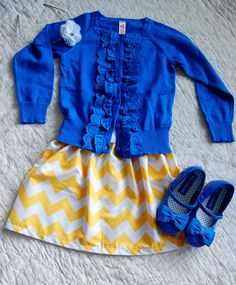 Styles for granddaughters kids outfits, baby girl fashion и little girl out Little Girl Outfits, Cute Outfits For Kids, Little Girl Fashion, Toddler Fashion, Kids Fashion, Chevron Skirt, Yellow Chevron, Blue Yellow, Color Blue
