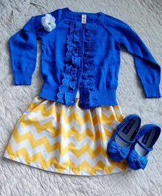 Spring Yellow Chevron Skirt Easter. $20.00, via Etsy.